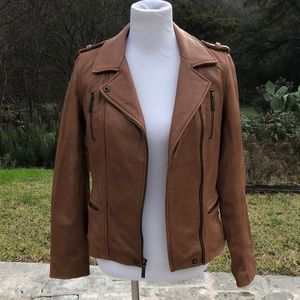 NWOT Micheal Michael Kors Tobacco Leather Moto Jkt